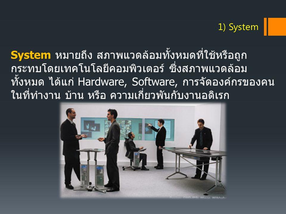 System System หมายถึง สภาพแวดล้อมทั้งหมดที่ใช้หรือถูก กระทบโดยเทคโนโลยีคอมพิวเตอร์ ซึ่งสภาพแวดล้อม ทั้งหมด ได้แก่ Hardware, Software, การจัดองค์กรของค