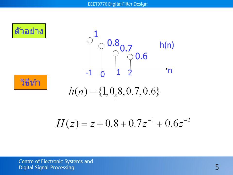 EEET0770 Digital Filter Design Centre of Electronic Systems and Digital Signal Processing EEET0770 Digital Filter Design จัดสมการใหม่เพื่อหา C3 สลับเทอม 2 กับ 3 ใช้ การหา แทนค่า z=1 ในขั้นตอนนี้ เทอม C1 จะหายไปเองเมื่อ z=1 26