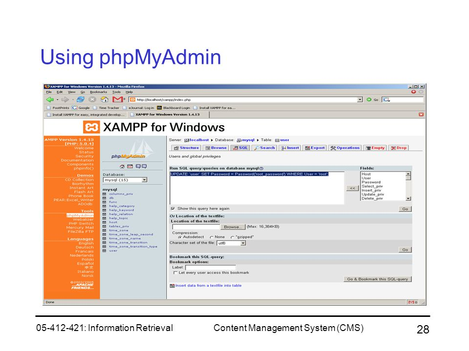 05-412-421: Information RetrievalContent Management System (CMS) 28 Using phpMyAdmin