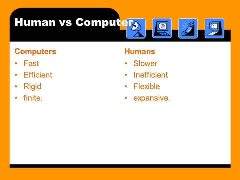 Human vs Computer Computers Fast Efficient Rigid finite. Humans Slower Inefficient Flexible expansive.