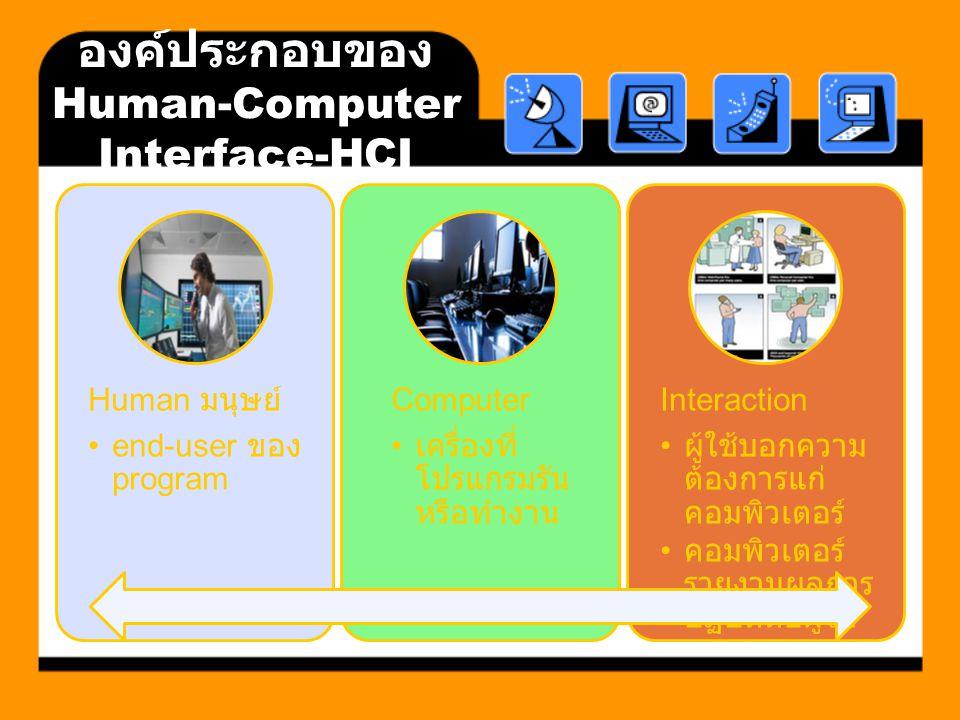 องค์ประกอบของ Human-Computer Interface-HCI Human มนุษย์ end-user ของ program Computer เครื่องที่ โปรแกรมรัน หรือทำงาน Interaction ผู้ใช้บอกความ ต้องกา