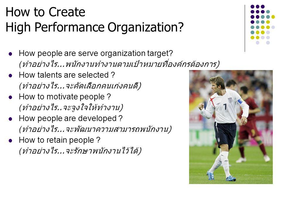 How to Create High Performance Organization? How people are serve organization target? ( ทำอย่างไร... พนักงานทำงานตามเป้าหมายที่องค์กรต้องการ ) How ta