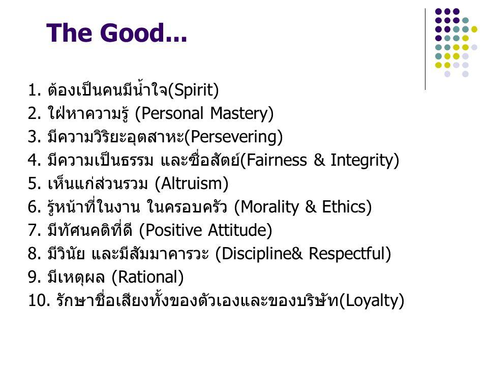 The Good... 1. ต้องเป็นคนมีน้ำใจ(Spirit) 2. ใฝ่หาความรู้ (Personal Mastery) 3. มีความวิริยะอุตสาหะ(Persevering) 4. มีความเป็นธรรม และซื่อสัตย์(Fairnes
