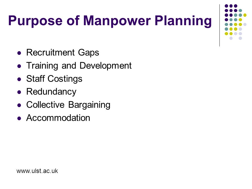 Purpose of Manpower Planning Recruitment Gaps Training and Development Staff Costings Redundancy Collective Bargaining Accommodation www.ulst.ac.uk