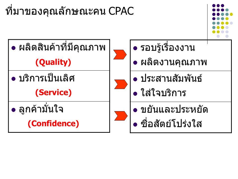 ที่มาของคุณลักษณะคน CPAC ผลิตสินค้าที่มีคุณภาพ บริการเป็นเลิศ ลูกค้ามั่นใจ รอบรู้เรื่องงาน ผลิตงานคุณภาพ ประสานสัมพันธ์ ใส่ใจบริการ ขยันและประหยัด ซื่