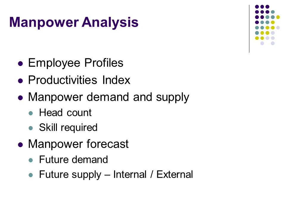 Manpower Analysis Employee Profiles Productivities Index Manpower demand and supply Head count Skill required Manpower forecast Future demand Future s