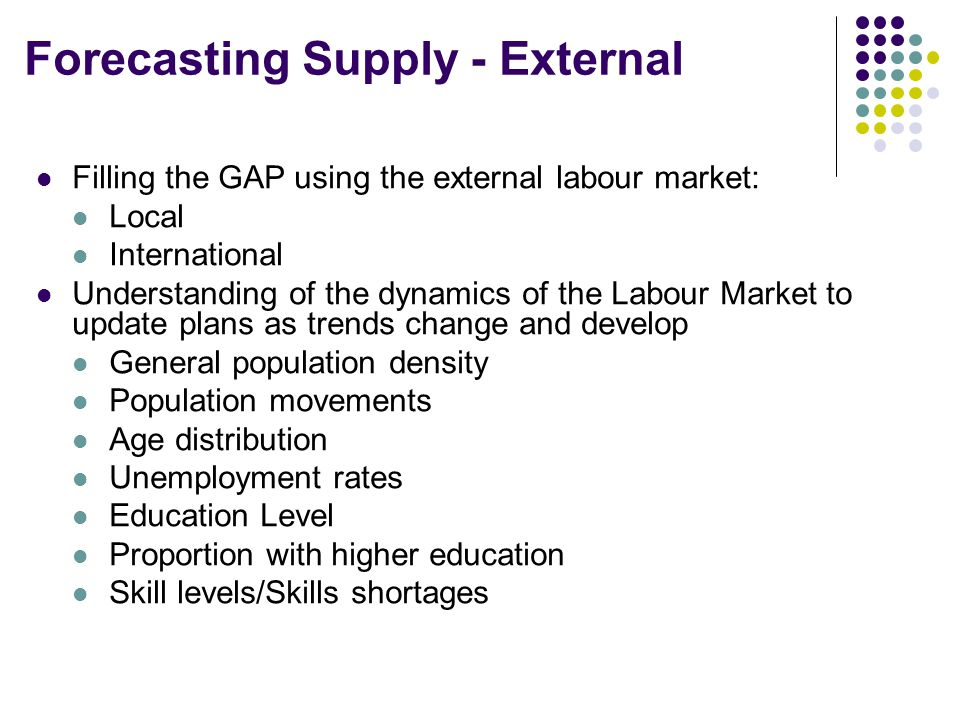 Forecasting Supply - External Filling the GAP using the external labour market: Local International Understanding of the dynamics of the Labour Market