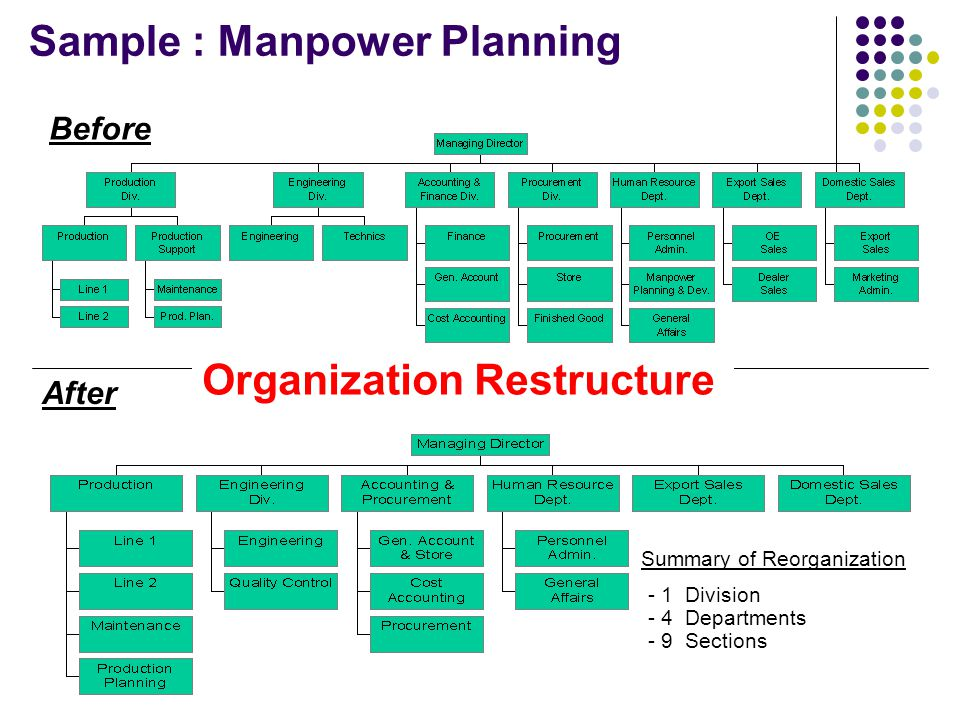 Before After Summary of Reorganization - 1 Division - 4 Departments - 9 Sections Sample : Manpower Planning Organization Restructure