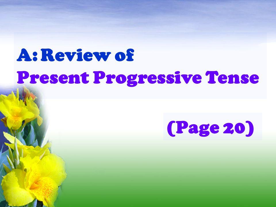 t t t f f A: Review of Present Progressive Tense (Page 20)