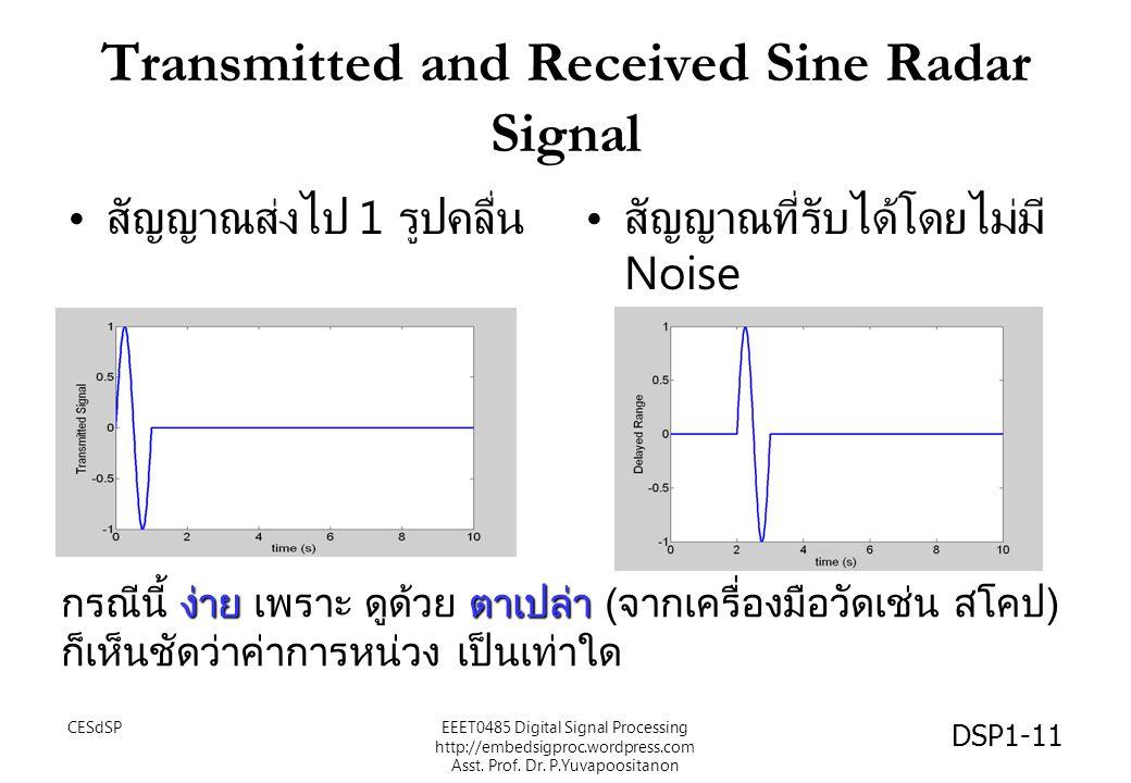 Transmitted and Received Sine Radar Signal CESdSPEEET0485 Digital Signal Processing http://embedsigproc.wordpress.com Asst. Prof. Dr. P.Yuvapoositanon