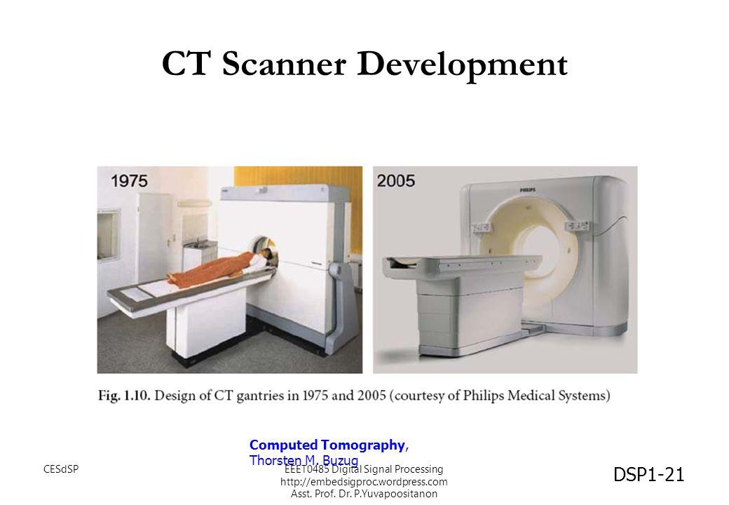CT Scanner Development Computed Tomography, Thorsten M. Buzug DSP1-21 CESdSPEEET0485 Digital Signal Processing http://embedsigproc.wordpress.com Asst.