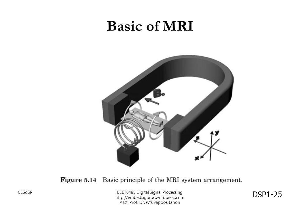 Basic of MRI DSP1-25 CESdSPEEET0485 Digital Signal Processing http://embedsigproc.wordpress.com Asst. Prof. Dr. P.Yuvapoositanon