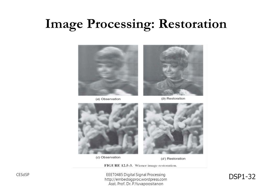 Image Processing: Restoration DSP1-32 CESdSPEEET0485 Digital Signal Processing http://embedsigproc.wordpress.com Asst. Prof. Dr. P.Yuvapoositanon