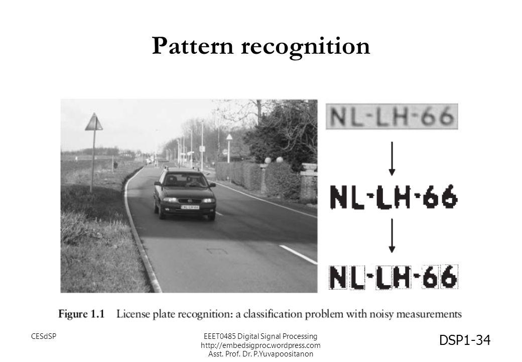 Pattern recognition DSP1-34 CESdSPEEET0485 Digital Signal Processing http://embedsigproc.wordpress.com Asst. Prof. Dr. P.Yuvapoositanon