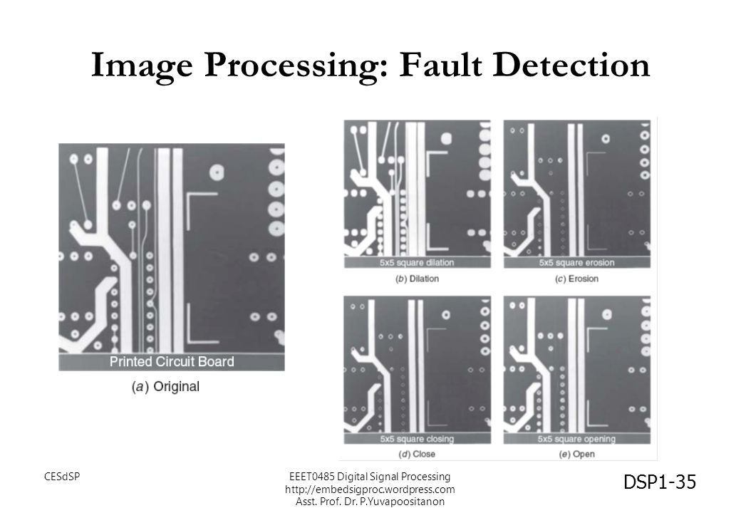 Image Processing: Fault Detection DSP1-35 CESdSPEEET0485 Digital Signal Processing http://embedsigproc.wordpress.com Asst. Prof. Dr. P.Yuvapoositanon
