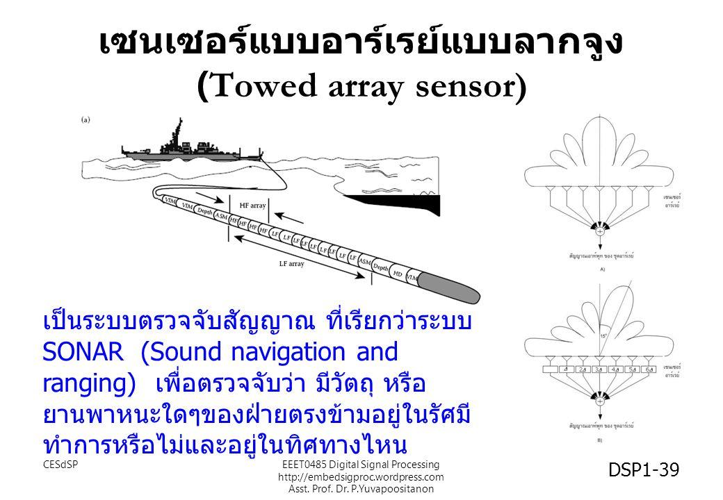 เซนเซอร์แบบอาร์เรย์แบบลากจูง (Towed array sensor) เป็นระบบตรวจจับสัญญาณ ที่เรียกว่าระบบ SONAR (Sound navigation and ranging) เพื่อตรวจจับว่า มีวัตถุ ห