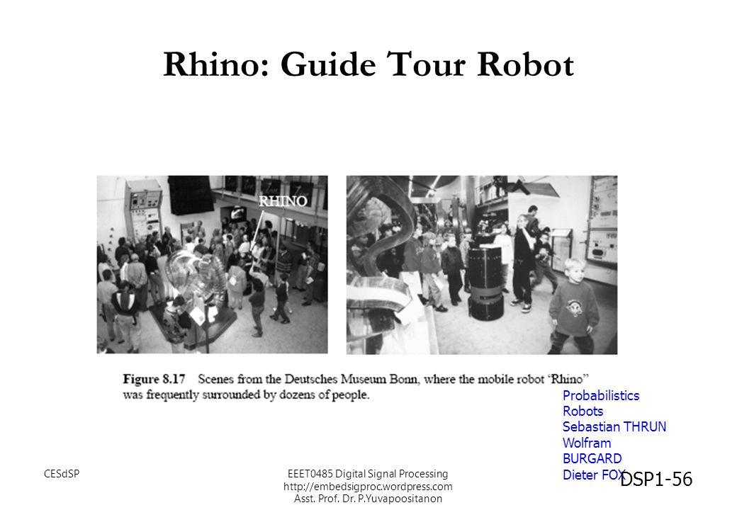 Rhino: Guide Tour Robot Probabilistics Robots Sebastian THRUN Wolfram BURGARD Dieter FOX DSP1-56 CESdSPEEET0485 Digital Signal Processing http://embed