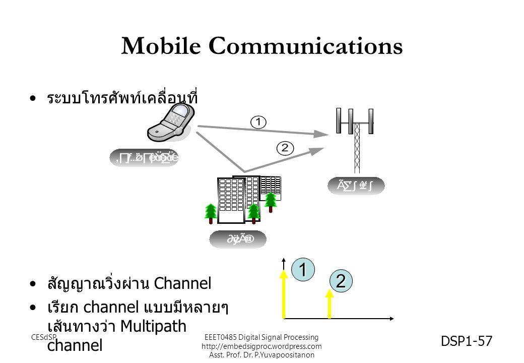 CESdSPEEET0485 Digital Signal Processing http://embedsigproc.wordpress.com Asst. Prof. Dr. P.Yuvapoositanon DSP1-57 Mobile Communications ระบบโทรศัพท์