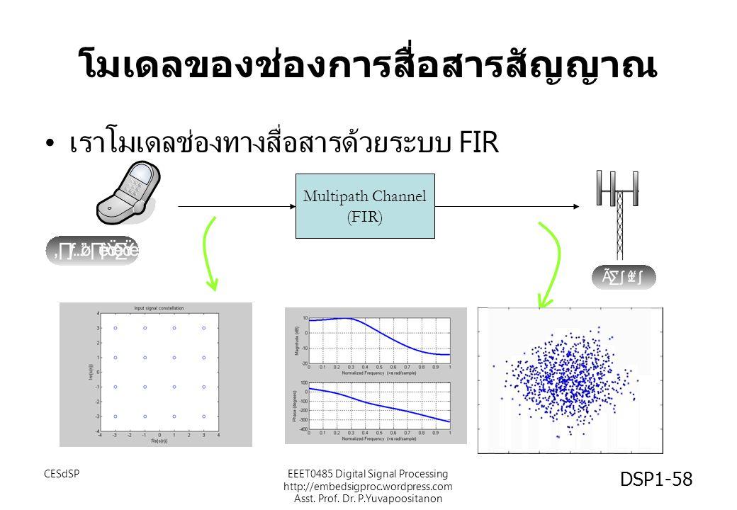 โมเดลของช่องการสื่อสารสัญญาณ เราโมเดลช่องทางสื่อสารด้วยระบบ FIR Multipath Channel (FIR) DSP1-58 CESdSPEEET0485 Digital Signal Processing http://embeds