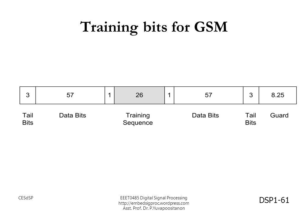 Training bits for GSM CESdSPEEET0485 Digital Signal Processing http://embedsigproc.wordpress.com Asst. Prof. Dr. P.Yuvapoositanon DSP1-61