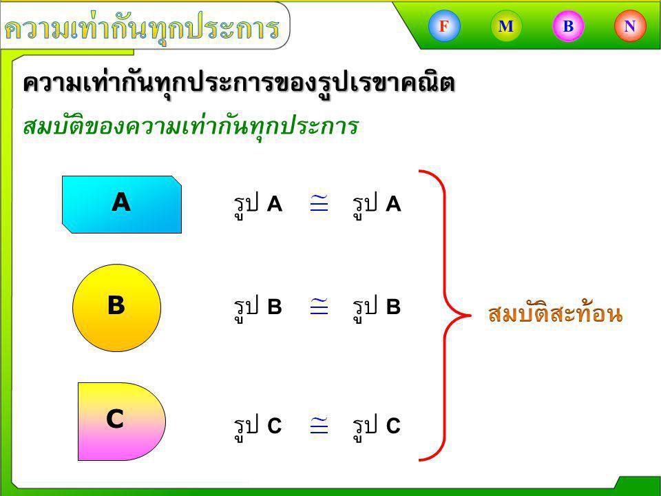 ความเท่ากันทุกประการของรูปเรขาคณิต สมบัติของความเท่ากันทุกประการ A B C รูป A รูป B รูป C