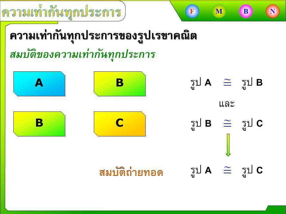 ความเท่ากันทุกประการของรูปเรขาคณิต สมบัติของความเท่ากันทุกประการ AB รูป B รูป C รูป A รูป B CB รูป A รูป C และ