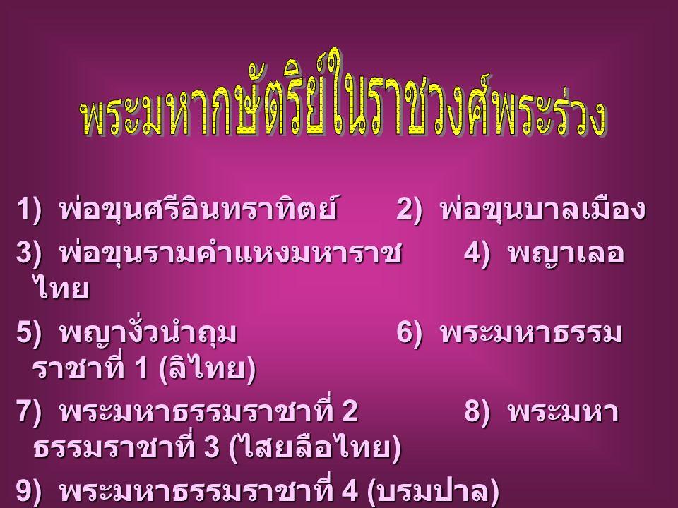 1) พ่อขุนศรีอินทราทิตย์ 2) พ่อขุนบาลเมือง 3) พ่อขุนรามคำแหงมหาราช 4) พญาเลอ ไทย 3) พ่อขุนรามคำแหงมหาราช 4) พญาเลอ ไทย 5) พญางั่วนำถุม 6) พระมหาธรรม ราชาที่ 1 ( ลิไทย ) 5) พญางั่วนำถุม 6) พระมหาธรรม ราชาที่ 1 ( ลิไทย ) 7) พระมหาธรรมราชาที่ 2 8) พระมหา ธรรมราชาที่ 3 ( ไสยลือไทย ) 7) พระมหาธรรมราชาที่ 2 8) พระมหา ธรรมราชาที่ 3 ( ไสยลือไทย ) 9) พระมหาธรรมราชาที่ 4 ( บรมปาล ) 9) พระมหาธรรมราชาที่ 4 ( บรมปาล )