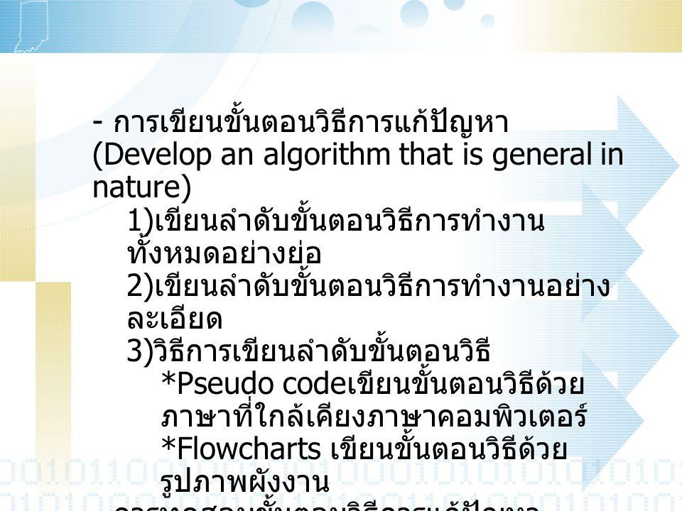 - การเขียนขั้นตอนวิธีการแก้ปัญหา (Develop an algorithm that is general in nature) 1) เขียนลำดับขั้นตอนวิธีการทำงาน ทั้งหมดอย่างย่อ 2) เขียนลำดับขั้นตอ