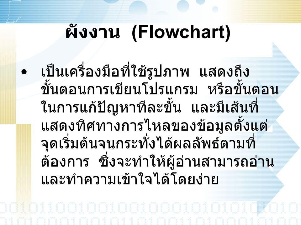 ผังงาน (Flowchart) เป็นเครื่องมือที่ใช้รูปภาพ แสดงถึง ขั้นตอนการเขียนโปรแกรม หรือขั้นตอน ในการแก้ปัญหาทีละขั้น และมีเส้นที่ แสดงทิศทางการไหลของข้อมูลต