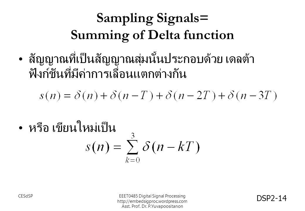 DSP2-14 Sampling Signals= Summing of Delta function สัญญาณที่เป็นสัญญาณสุ่มนั้นประกอบด้วย เดลต้า ฟังก์ชันที่มีค่าการเลื่อนแตกต่างกัน หรือ เขียนใหม่เป็