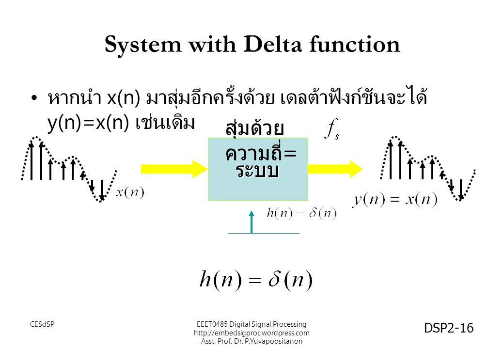 DSP2-16 ระบบ System with Delta function หากนำ x(n) มาสุ่มอีกครั้งด้วย เดลต้าฟังก์ชันจะได้ y(n)=x(n) เช่นเดิม สุ่มด้วย ความถี่ = EEET0485 Digital Signa