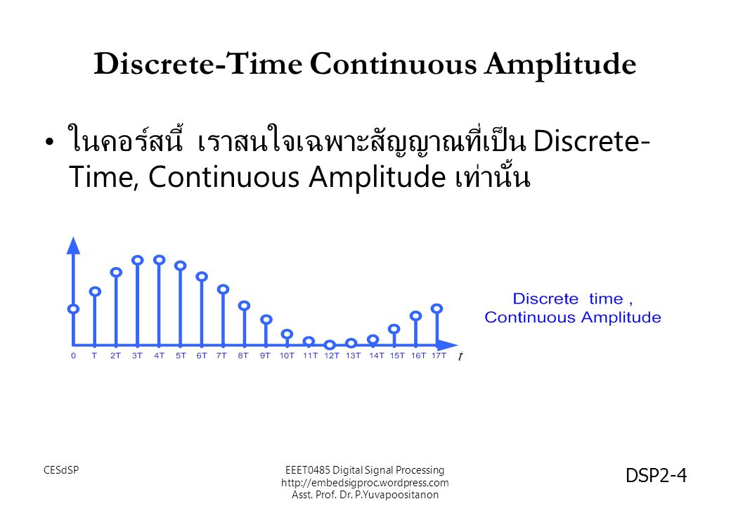 DSP2-4 Discrete-Time Continuous Amplitude ในคอร์สนี้ เราสนใจเฉพาะสัญญาณที่เป็น Discrete- Time, Continuous Amplitude เท่านั้น EEET0485 Digital Signal P