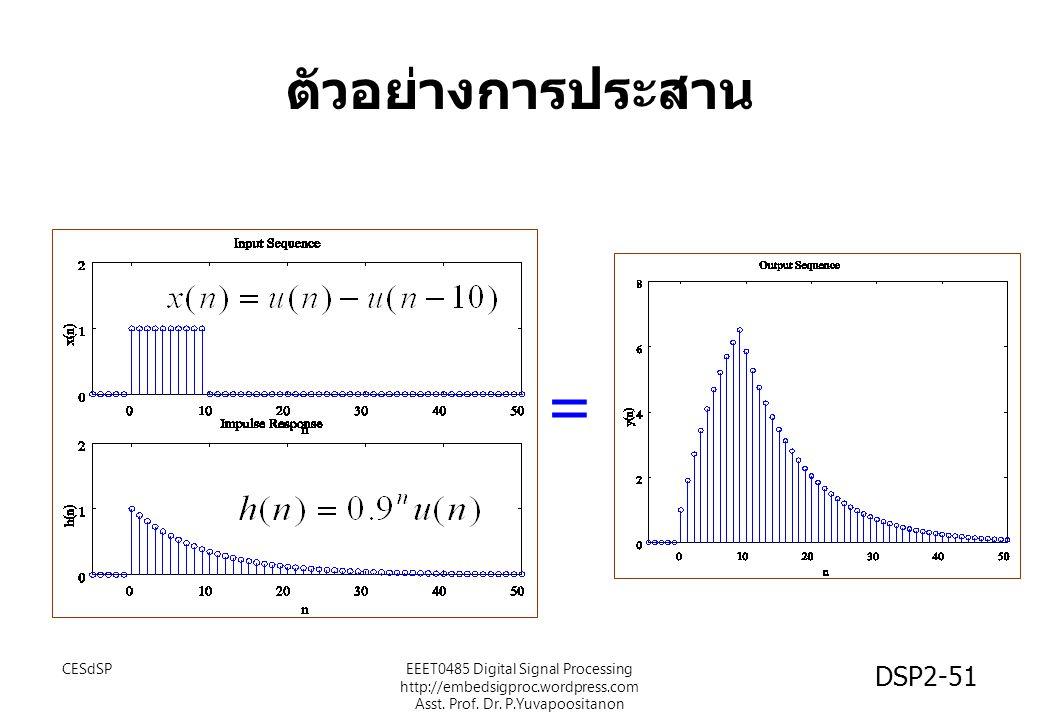 DSP2-51 ตัวอย่างการประสาน = EEET0485 Digital Signal Processing http://embedsigproc.wordpress.com Asst. Prof. Dr. P.Yuvapoositanon CESdSP