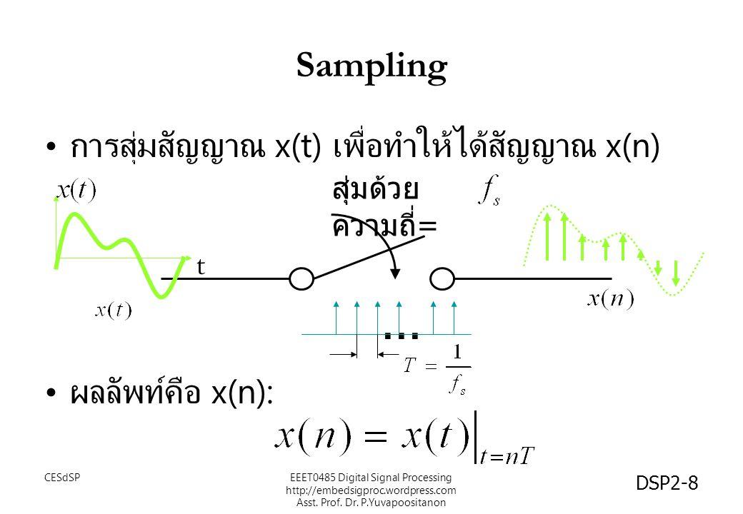 DSP2-8 Sampling การสุ่มสัญญาณ x(t) เพื่อทำให้ได้สัญญาณ x(n) ผลลัพท์คือ x(n): สุ่มด้วย ความถี่ =... t EEET0485 Digital Signal Processing http://embedsi