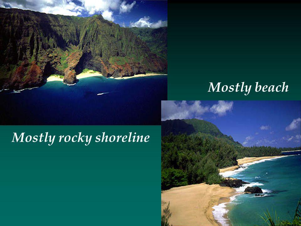 Mostly rocky shoreline Mostly beach