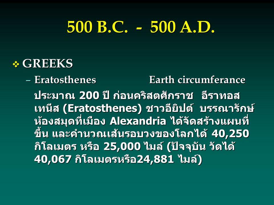 500 B.C. - 500 A.D.  GREEKS – EratosthenesEarth circumferance ประมาณ 200 ปี ก่อนคริสตศักราช อีราทอส เทนีส (Eratosthenes) ชาวอียิปต์ บรรณารักษ์ ห้องสม