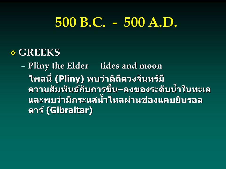 500 B.C. - 500 A.D.  GREEKS – Pliny the Eldertides and moon ไพลนี่ (Pliny) พบว่าดิถีดวงจันทร์มี ความสัมพันธ์กับการขึ้น–ลงของระดับน้ำในทะเล และพบว่ามี