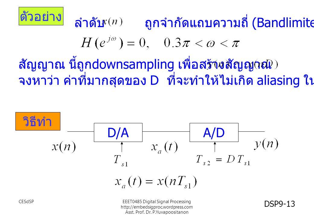 ตัวอย่าง วิธีทำ ลำดับ ถูกจำกัดแถบความถี่ (Bandlimited) ไว้ สัญญาณ นี้ถูก downsampling เพื่อสร้างสัญญาณ จงหาว่า ค่าที่มากสุดของ D ที่จะทำให้ไม่เกิด ali