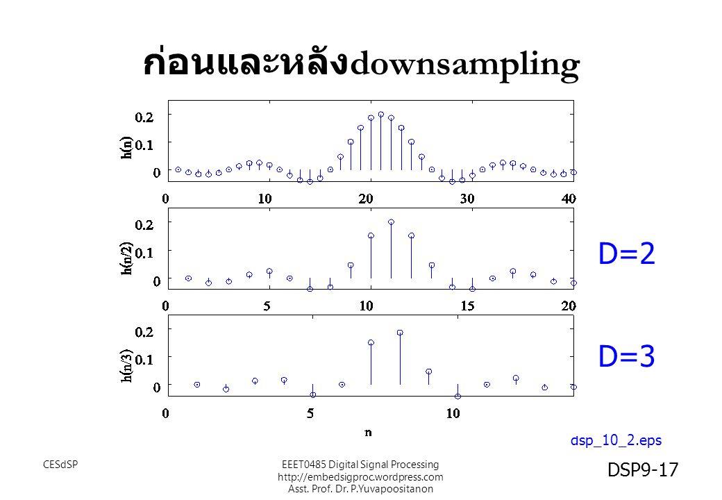 ก่อนและหลัง downsampling dsp_10_2.eps D=2 D=3 CESdSP DSP9-17 EEET0485 Digital Signal Processing http://embedsigproc.wordpress.com Asst. Prof. Dr. P.Yu