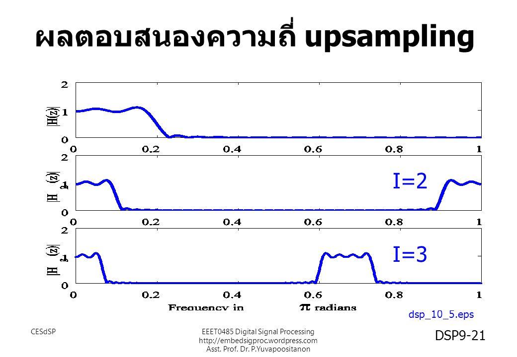 dsp_10_5.eps I=2 I=3 ผลตอบสนองความถี่ upsampling CESdSP DSP9-21 EEET0485 Digital Signal Processing http://embedsigproc.wordpress.com Asst. Prof. Dr. P