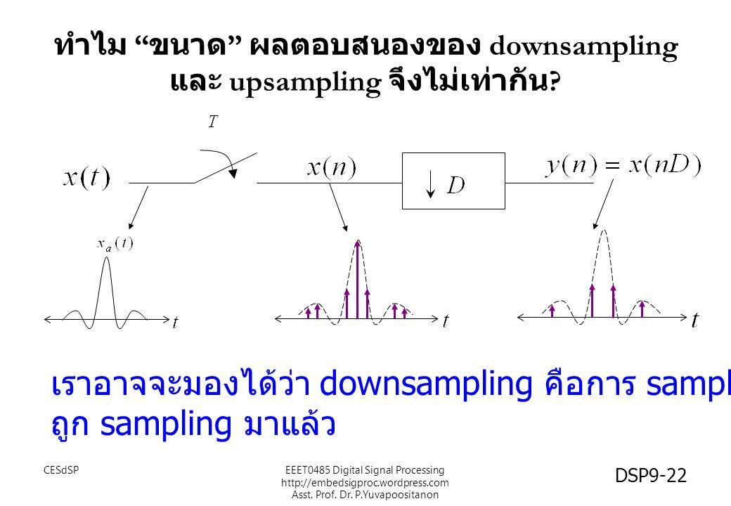 """ทำไม """" ขนาด """" ผลตอบสนองของ downsampling และ upsampling จึงไม่เท่ากัน ? เราอาจจะมองได้ว่า downsampling คือการ sampling สัญญาณ ถูก sampling มาแล้ว CESdS"""