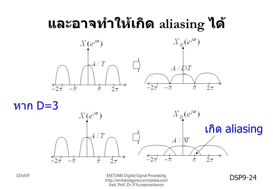 และอาจทำให้เกิด aliasing ได้ เกิด aliasing หาก D=3 CESdSP DSP9-24 EEET0485 Digital Signal Processing http://embedsigproc.wordpress.com Asst. Prof. Dr.