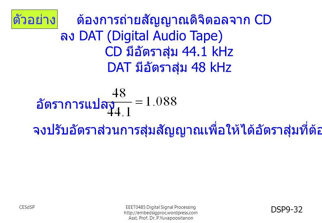 ต้องการถ่ายสัญญาณดิจิตอลจาก CD ลง DAT (Digital Audio Tape) CD มีอัตราสุ่ม 44.1 kHz DAT มีอัตราสุ่ม 48 kHz อัตราการแปลง ตัวอย่าง จงปรับอัตราส่วนการสุ่ม