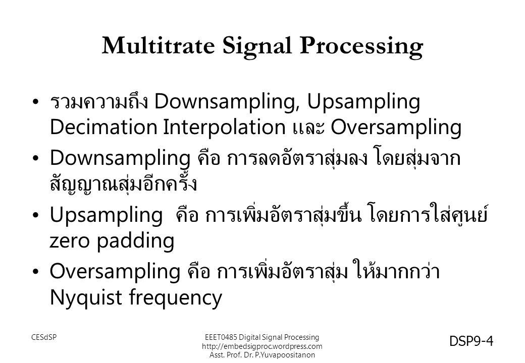 Multitrate Signal Processing รวมความถึง Downsampling, Upsampling Decimation Interpolation และ Oversampling Downsampling คือ การลดอัตราสุ่มลง โดยสุ่มจา