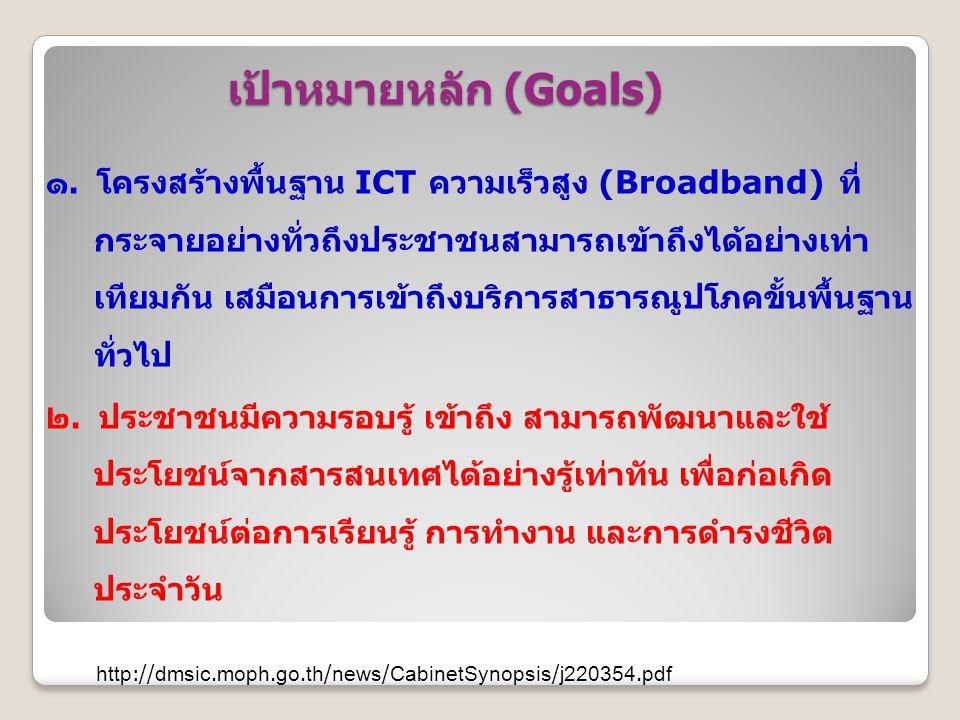 เป้าหมายหลัก (Goals) ๑. โครงสร้างพื้นฐาน ICT ความเร็วสูง (Broadband) ที่ กระจายอย่างทั่วถึงประชาชนสามารถเข้าถึงได้อย่างเท่า เทียมกัน เสมือนการเข้าถึงบ