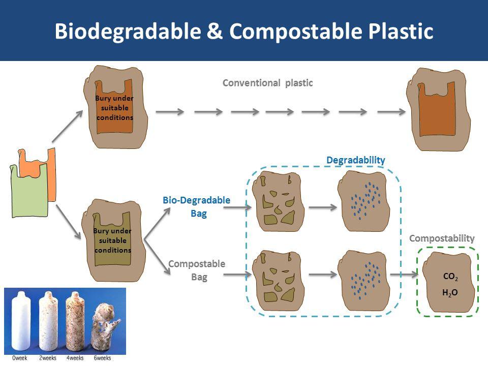 Biodegradable & Compostable Plastic Bury under suitable conditions CO 2 H2OH2O Bury under suitable conditions
