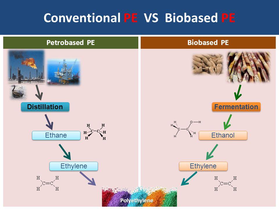 Conventional PE VS Biobased PE Petrobased PEBiobased PE Polyethylene Distillation Fermentation Ethanol Ethylene Ethane Ethylene