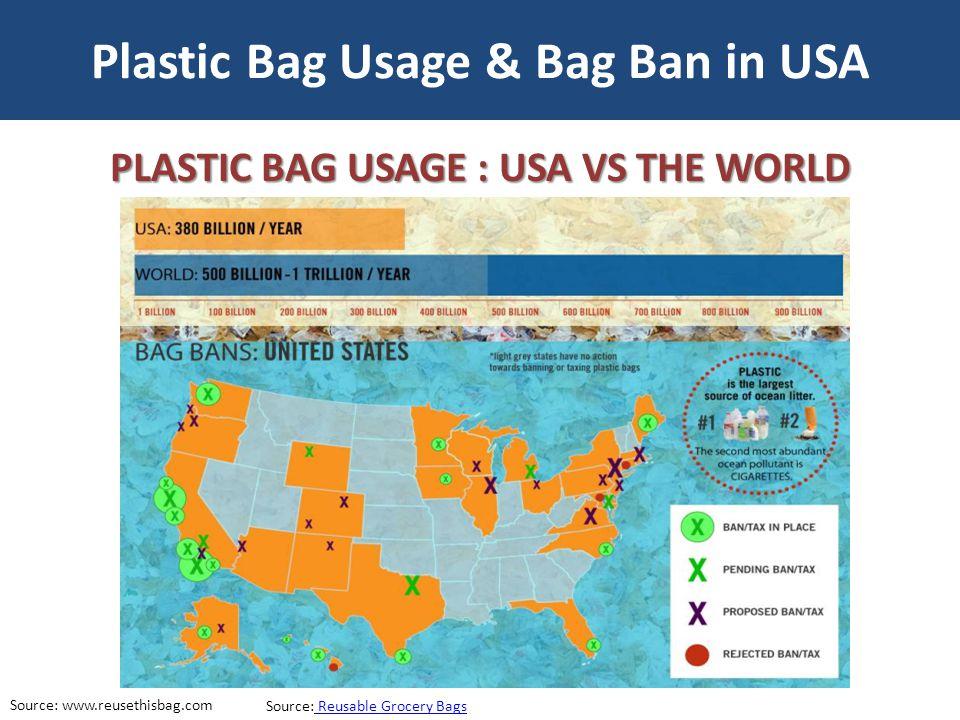 Plastic Bag Usage & Bag Ban in USA Source: www.reusethisbag.com Source: Reusable Grocery Bags Reusable Grocery Bags PLASTIC BAG USAGE : USA VS THE WOR