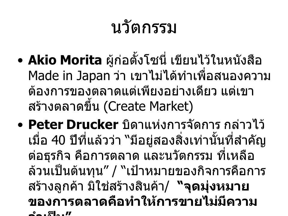 นวัตกรรม Akio Morita ผู้ก่อตั้งโซนี่ เขียนไว้ในหนังสือ Made in Japan ว่า เขาไม่ได้ทำเพื่อสนองความ ต้องการของตลาดแต่เพียงอย่างเดียว แต่เขา สร้างตลาดขึ้