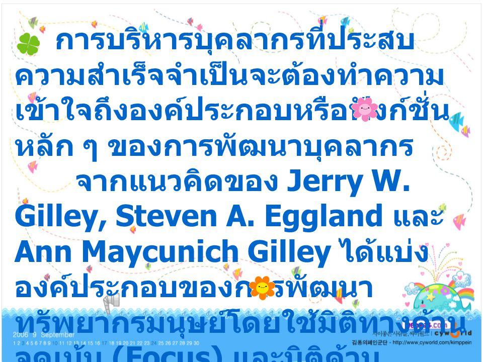 การบริหารบุคลากรที่ประสบ ความสำเร็จจำเป็นจะต้องทำความ เข้าใจถึงองค์ประกอบหรือฟังก์ชั่น หลัก ๆ ของการพัฒนาบุคลากร จากแนวคิดของ Jerry W.